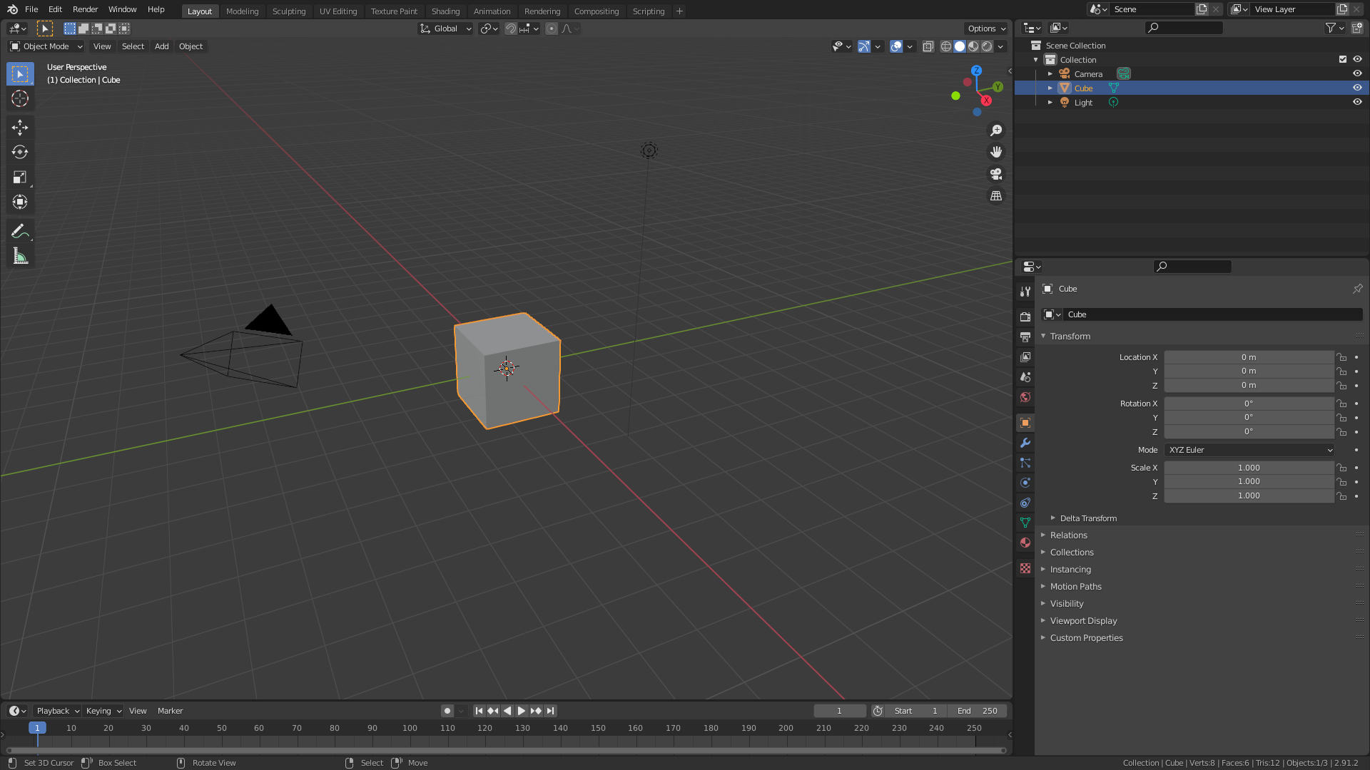 Blender UI Showing the Default Cube